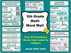 Grade Math Word Wall for Texas per page Math Vocabulary Wall, Math Tutor, Maths, Interactive Math Journals, Mastering Math, Math Word Walls, Elementary Math, Upper Elementary, Fifth Grade Math