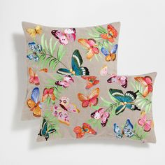 Zara Home New Collection Printed Cushions, Scatter Cushions, Throw Pillows, Butterfly Cushion, Cushion Embroidery, Hand Painted Dress, Zara Home Collection, Butterfly Decorations, Cotton Quilts