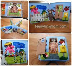 Quiet Book doll house Felt Wollfilz Stoffbuch Spielbuch Aktivbuch Stoffbuch Kinderbuch Teddybuch Dollhouse Teddy Farm http://www.teenytinymom.com/2015/12/18/teddy-s-house-to-go/