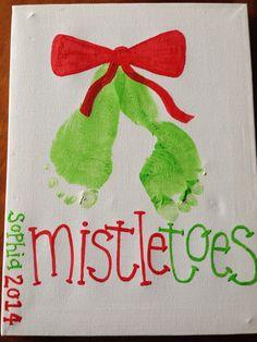 Mistletoes footprints #keepsake #homemadechristmas #christmasdecoration
