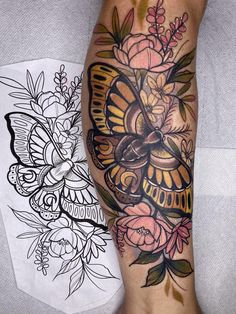 Butterfly Mandala Tattoo, Butterfly Leg Tattoos, Butterfly With Flowers Tattoo, Flower Tattoos, Forearm Mandala Tattoo, Love Flowers, Butterflies, Calf Tattoos For Women, Sleeve Tattoos For Women