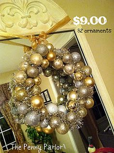 Have to do this next year- Cheap pretty Christmas wreath.