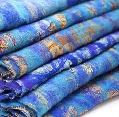 Turquoise and Cobalt Blue Sari Scarf