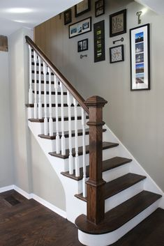 Walls are Sherwin Williams Analytical Gray and Brown Spice Minwax floor stain Staircase Ideas Analytical Brown floor Gray Minwax Sherwin Spice stain walls Williams White Staircase, Staircase Railings, Banisters, Stained Staircase, Painted Banister, Painted Staircases, Railing Design, Staircase Design, Staircase Ideas