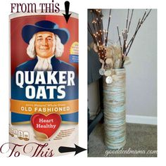 Floor Vase DIY With Oatmeal Container! from gooddealmama.com