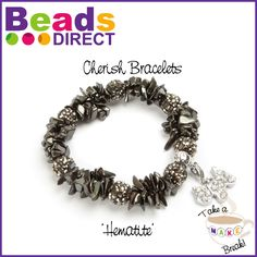 #TakeaMakeBreak DIY Semi Precious Chip Bracelet. This cherish charm bracelet has been made from glamorous hematite. The hematite coloured shamballa fashion beads match the hematite chip beads so well that they create a subtle sparkle exudes understated sophistication. Learn how to make yours http://www.beadsdirect.co.uk/gallery/detail/cherish-bracelet-hematite/