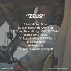 """Zeus"" WOD - 3 Rounds For Time: 30 Wall Ball Shots (20/14 lb); 30 Sumo Deadlift High-Pull (75/55 lb); 30 Box Jump (20 in); 30 Push Presses (75/55 lb); 30 calorie Row; 30 Push-Ups; 10 Back Squat (Bodyweight)"
