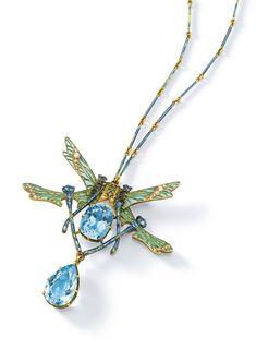"René Lalique -  ""QUATRE LIBELLULES"" PENDANT NECKLACE -    gold, aquamarine, diamond and enamel, pendant signed LALIQUE 19 1/2  in. (49.5 cm) long circa 1903-1904"