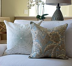 """Designer Pillow Covers by Modern Coastal Interiors.      http://www.etsy.com/shop/ModernCoastal    Pictured: Carleton Creations and Schumacher 20"""" Covers."""