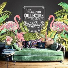 Hawaii Flamingo Wallpaper Tropical Plant Forest Summer Holiday Wall Mural Wall Paper Trees Leaves Green Nature x by DreamyWall on Etsy Tropical Style, Tropical Decor, Tropical Plants, Flamingo Wallpaper, More Wallpaper, Wall Wallpaper, Kitchen Wallpaper, Nature Plants, Green Nature