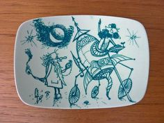 Whimsical Nymolle Faience Plate illustrated by Rowland Emett. $45.00, via Etsy.