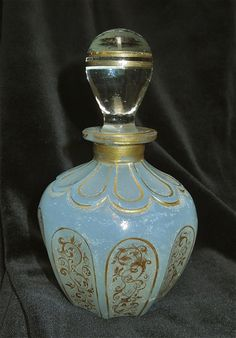 True Antique Perfume Bottle Blue Opalescent with Golden Ornaments Decorations | eBay