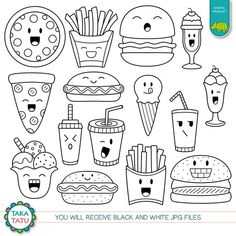 Kawaii Fast Food Digital Stamp - Fast Food Clipart / Cute Fast Food / Kawaii Food Line Art / Cute Fo Cute Food Drawings, Mini Drawings, Cute Kawaii Drawings, Kawaii Doodles, Cute Doodles, Food Drawing Easy, Food Doodles, Chalk Drawings, Food Kawaii