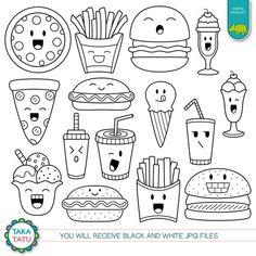 Kawaii Fast Food Digital Stamp - Fast Food Clipart / Cute Fast Food / Kawaii Food Line Art / Cute Fo Easy Doodles Drawings, Cute Food Drawings, Mini Drawings, Simple Doodles, Kawaii Drawings, Food Drawing Easy, Chalk Drawings, Cute Doodle Art, Doodle Art Designs