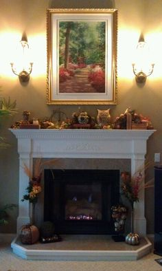 Fall Fireplace Decorating - Sconces On... Emma helped me decorate! :)