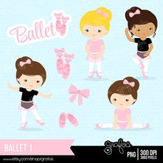 BALLET 1  Digital Clipart , Ballet Clipart, Ballerina Clipart  / Instant Download on Etsy, $5.00