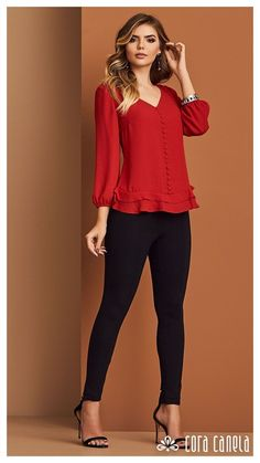 Blouse Styles, Blouse Designs, Casual Work Outfits, Womens Fashion For Work, Mode Style, Casual Chic, Dress To Impress, Blouses For Women, Ideias Fashion