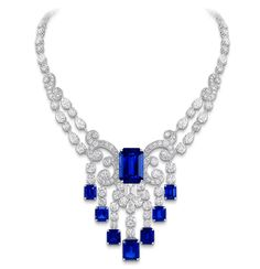 Graff Sapphire and Diam Scroll Necklace.                                                                                                                                                                                 More