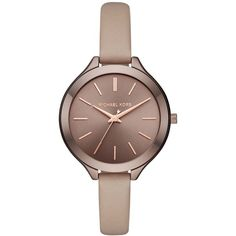 Michael Kors Women's Slim Runway Latte Leather Strap Watch 42mm MK2631 ($195) ❤ liked on Polyvore featuring jewelry, watches, brown, oversized wrist watch, oversized jewelry, slim watches, leather strap watches and michael kors jewelry