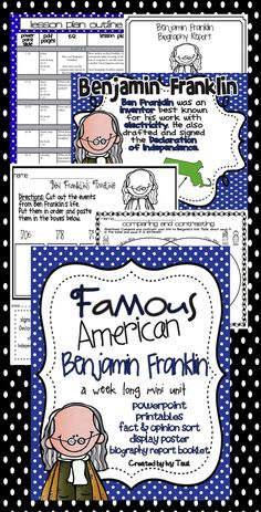 Famous American Benjamin Franklin for 1st or 2nd Week long unit includes PowerPoint & Printables $