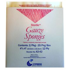 """4"""" x 4"""", 12-ply, Gauze Sponges, box of 25 packs (Cypress Medical Products) at http://www.frenchcreekmedical.com/Sterile_Gauze_4_x_4_p/cypress_medical_42-42.htm"""