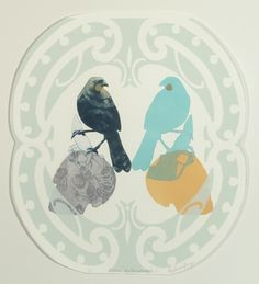 Vanessa Edwards, Manu Matauranga (Knowledge Birds), 2013 drypoint & screenprint (framed) on 250 x 250 mm paper, 1 of Intaglio Printmaking, Collages, Maori Designs, Jr Art, Maori Art, Mixed Media Artwork, Abstract Portrait, Artist Painting, Artist At Work