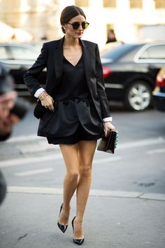 Olivia; Peplum mini dress with blazer and Christian Louboutin Pigalle pumps.
