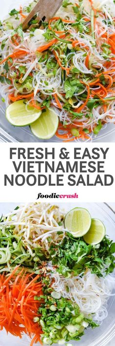 Fresh and Easy Vietnamese Noodle Salad Recipe | Spring Rolls Salad Recipe | Rice Noodle Salad Recipe | Vermicelli Noodle Recipe foodiecrush.com #noodlesalad #vietnamesefood