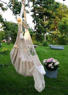 Nydelig hengestol laget av økologisk bomull - LandRomAntikk.no - Livsstil på nett siden 2004