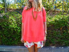 Coral Sweater + Floral Shorts