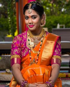 The Art of Wearing Bridal Jewellery To Look So Elegant! Indian Bridal Fashion, Indian Bridal Wear, Indian Wear, Badgley Mischka Bridal, Wedding Saree Collection, Long Pearl Necklaces, Gold Necklace, Fancy Blouse Designs, Bridal Makeup