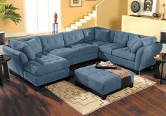 Cindy Crawford Home   Metropolis Indigo Left   4 Pc Sectional Living Room
