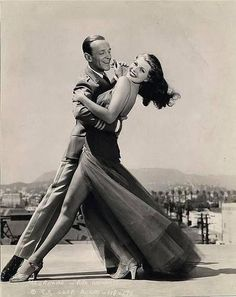Fred Astaire and Rita Hayworth practicing a dance and taking test shots on the Columbia Studios backlot June 1942