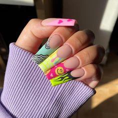 Short Square Acrylic Nails, Purple Acrylic Nails, Best Acrylic Nails, Sweet 16 Nails, Sassy Nails, Trendy Nails, Bright Nail Art, Nails Now, Cute Acrylic Nail Designs