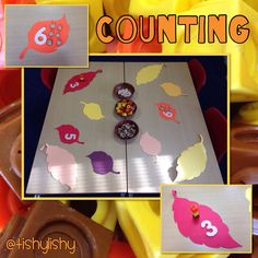 Autumn Leaves Inspired Counting (from TishyLishy) Early Years Maths, Early Years Classroom, Early Math, Maths Eyfs, Eyfs Classroom, Numeracy, Morning Activities, Autumn Activities, Problem Solving Activities