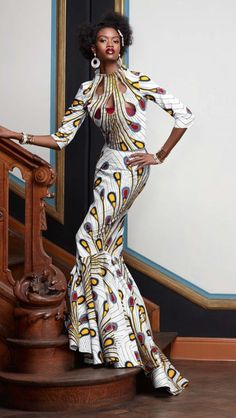 We love long dresses that accentuate the elegance and natural beauty of woman. This dress from Vlisco's Splendeur collection does just that. Photo is from a post by Akatasia.com  Women of colour color, Beautiful, Black women, Black girls, Dark skin, Beauty, Black fashion style, Brown women skin girls, Melanin, Ebony, elegant black models public figures bloggers celebrities, elegance, respectful fun style