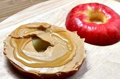 Apple bagel with peanut butter and honey spread! So creative!