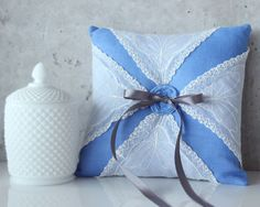 vintage ring pillow with blue lacy design (by gathered) #handmade #wedding