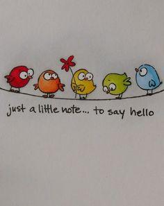 handlettering geburtstagskarte Little bird - draw bird - draw bird - Bird Drawings, Easy Drawings, Watercolor Cards, Watercolor Paintings, Art Carte, Happy Paintings, Whimsical Art, Bird Art, Diy Cards