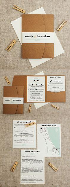 lightly nautical pocketfold wedding invitation | Found for you by www.astrabridal.co.nz |