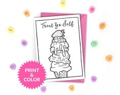 Super cute printable coloring cards and pages! Just download, print at home, and color! The spaces are large enough to be colored confidently but adults *and* kids. Click through for more designs. DIY adult coloring.