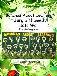 Jungle Themed Data Wall for KindergartenDirections: every student gets a tree (either use a colored tree or have them color their own tree) and display on a bulletin boardevery tree gets a monkey, take a picture of each student and put their face over the monkey face and glue the monkey so it is hanging from the treeprint the bananas on yellow construction paperwhen students achieve each banana goal, glue the banana bunch into their treeData Wall Icons Included: (most are Common Core…