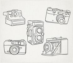 Hand Drawn Cameras Clip Art, Outline Cameras Clipart, polaroid vintage Digital vector and png Camera Camera Clip Art, Camera Drawing, Antique Cameras, Vintage Cameras, Camera Outline, Old Fashioned Camera, Wood Burning Patterns, Tattoo Inspiration, How To Draw Hands
