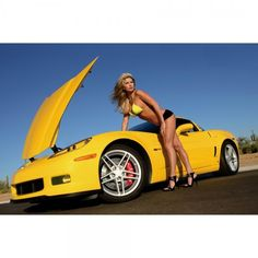 nude blonde on muscle car