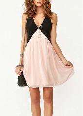 Women Pink and Black Color Blocking V Neck Dress