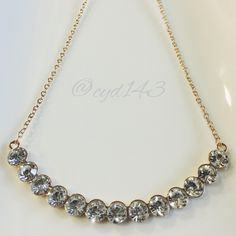 "Crystal crescent necklace Both simple & trendy... Step up to the next level in fashion with this crystal necklace! Makes a great accent to any apparel, making every outfit sparkle! Can be worn up or worn down. Length 24"" with 2.5"" extension Jewelry Necklaces"