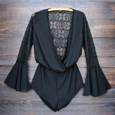 wild vixen lace romper - black