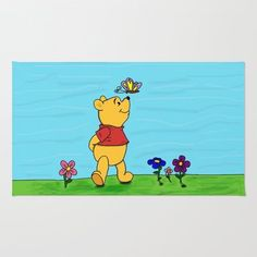 Society6 - Winnie The Pooh And Butterfly Rug by BlackBlizzard