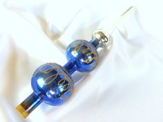 Vintage 1980's Blue and Silver Ombre Double Ball Christmas Holiday Tree Topper Decoration