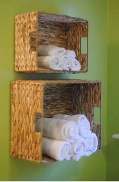 DIY Bathroom Towel Storage in Under 5 Minutes.